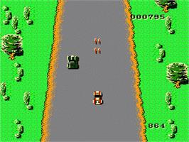 In game image of Spy Hunter on the Nintendo NES.