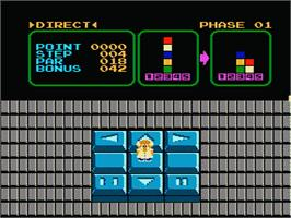 In game image of Stack Up on the Nintendo NES.