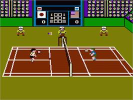 In game image of Super Dyna'mix Badminton on the Nintendo NES.