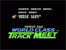 In game image of Super Mario Bros, Duck Hunt, & World Class Track Meet on the Nintendo NES.