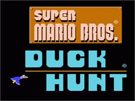 In game image of Super Mario Bros.& Duck Hunt on the Nintendo NES.