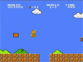 In game image of Super Mario Bros. on the Nintendo NES.