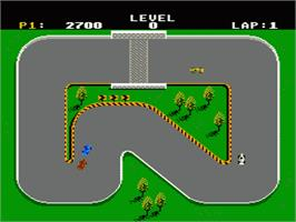 In game image of Super Sprint on the Nintendo NES.
