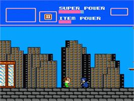 In game image of Superman on the Nintendo NES.