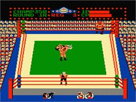 In game image of Tag Team Wrestling on the Nintendo NES.