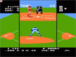 In game image of Tecmo Baseball on the Nintendo NES.