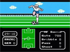 In game image of Tecmo Cup on the Nintendo NES.