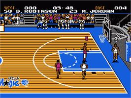 In game image of Tecmo NBA Basketball on the Nintendo NES.