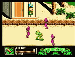 In game image of Teenage Mutant Ninja Turtles 3: The Manhattan Project on the Nintendo NES.