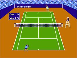 In game image of Tennis on the Nintendo NES.