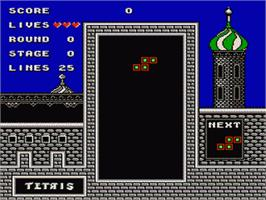 In game image of Tetris on the Nintendo NES.