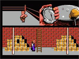 In game image of Three Stooges on the Nintendo NES.