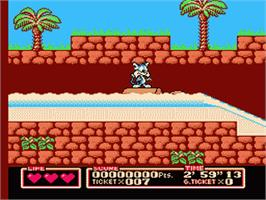 In game image of Tiny Toon Adventures 2: Trouble in Wackyland on the Nintendo NES.