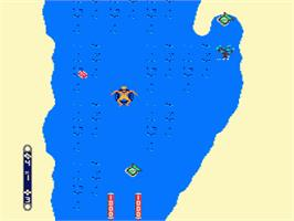 In game image of Toobin' on the Nintendo NES.