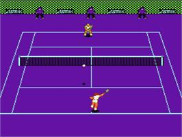 In game image of Top Players' Tennis on the Nintendo NES.
