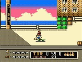 In game image of Town & Country Surf Designs: Wood & Water Rage on the Nintendo NES.