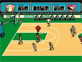 In game image of Ultimate Basketball on the Nintendo NES.
