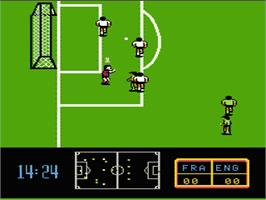 In game image of Ultimate League Soccer on the Nintendo NES.
