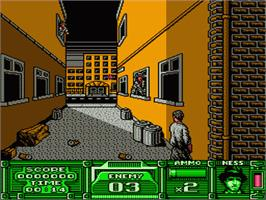 In game image of Untouchables on the Nintendo NES.