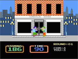 In game image of Urban Champion on the Nintendo NES.