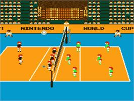 In game image of Volley Ball on the Nintendo NES.