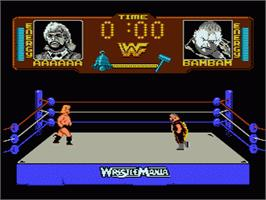 In game image of WWF Wrestlemania on the Nintendo NES.
