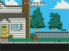 In game image of Wally Bear and the NO! Gang on the Nintendo NES.