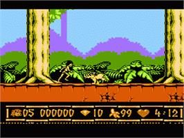 In game image of Walt Disney's The Jungle Book on the Nintendo NES.
