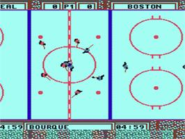 In game image of Wayne Gretzky Hockey on the Nintendo NES.