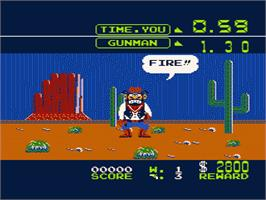 In game image of Wild Gunman on the Nintendo NES.