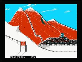 In game image of Winter Games on the Nintendo NES.