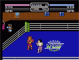 In game image of World Champ:  Super Boxing Great Fight on the Nintendo NES.