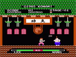 In game image of Yie Ar Kung-Fu on the Nintendo NES.