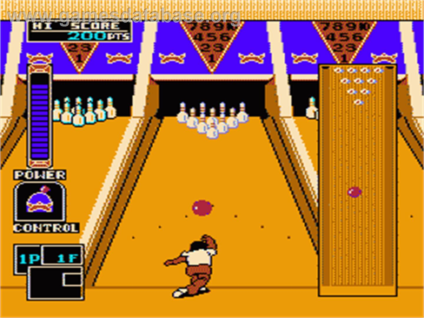 In game image of Championship Bowling on the Nintendo NES.