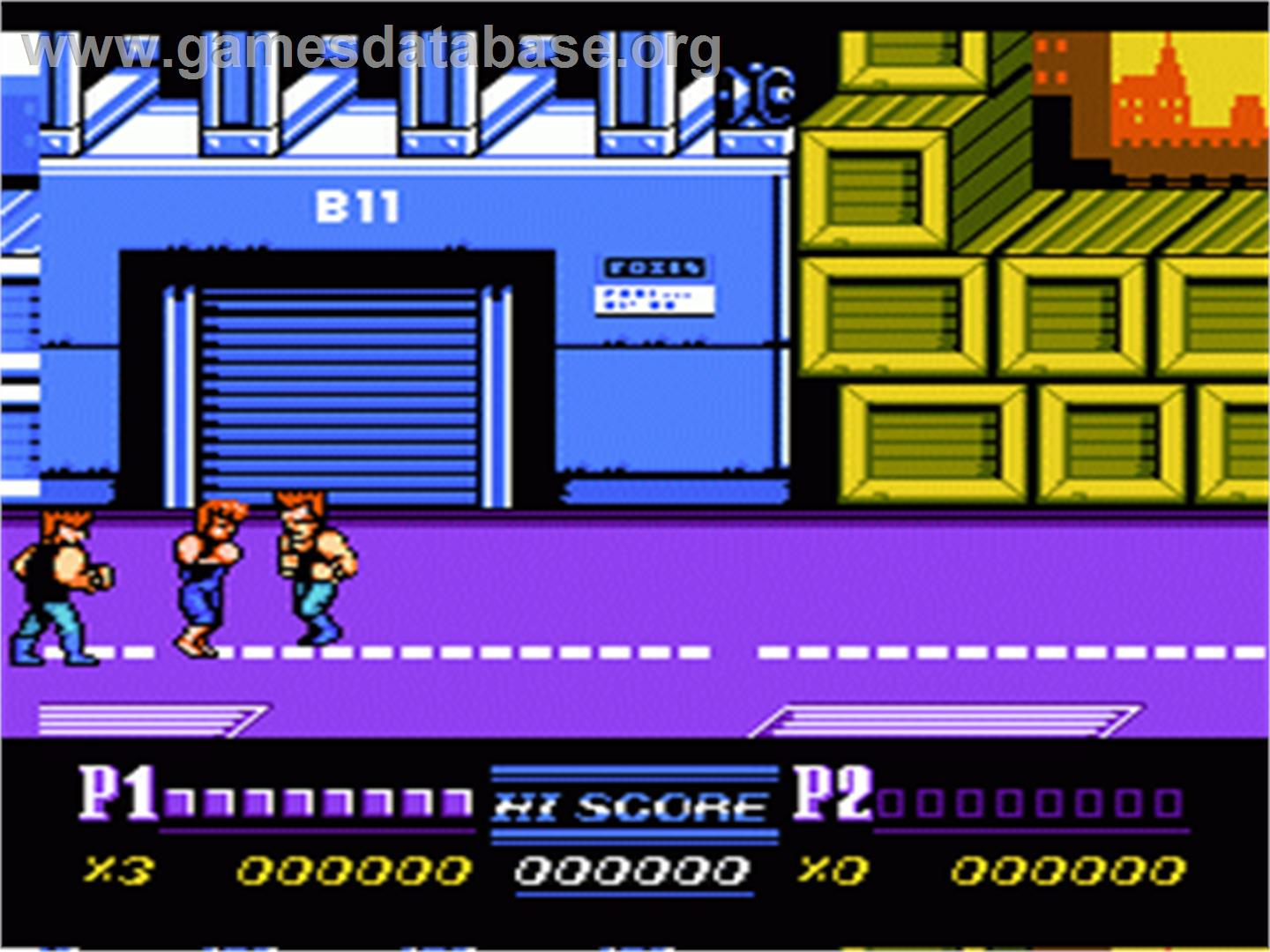 In game image of Double Dragon II - The Revenge on the Nintendo NES.