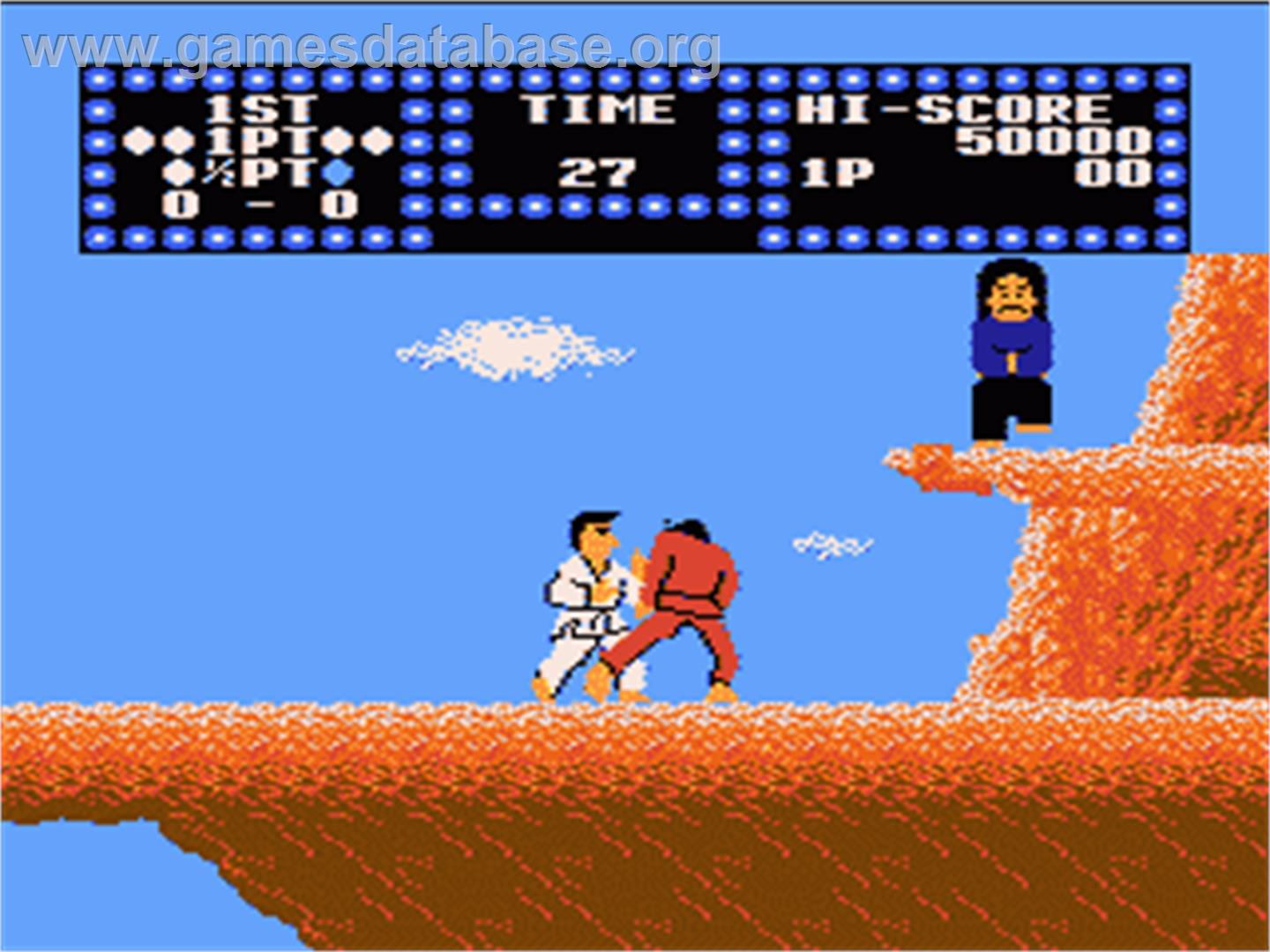 In game image of Karate Champ on the Nintendo NES.