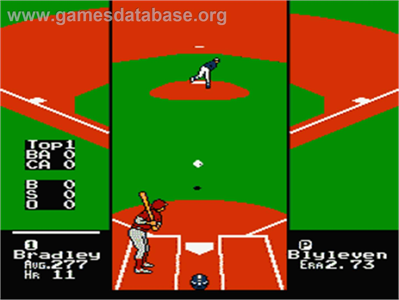 In game image of RBI Baseball 2 on the Nintendo NES.