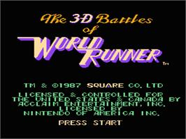 Title screen of 3D World Runner on the Nintendo NES.