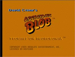 Title screen of A Boy and his Blob: Trouble on Blobolonia on the Nintendo NES.