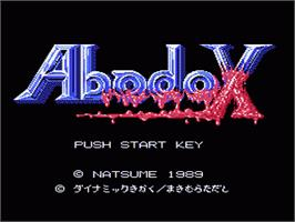 Title screen of Abadox: The Deadly Inner War on the Nintendo NES.