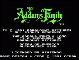 Title screen of Addams Family, The on the Nintendo NES.