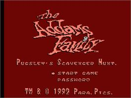 Title screen of Addams Family: Pugsley's Scavenger Hunt on the Nintendo NES.