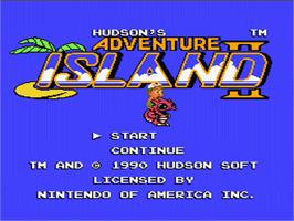 Title screen of Adventure Island 2 on the Nintendo NES.
