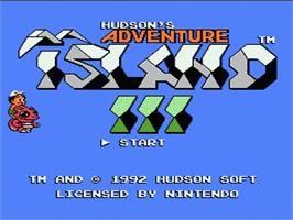 Title screen of Adventure Island 3 on the Nintendo NES.