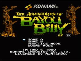 Title screen of Adventures of Bayou Billy on the Nintendo NES.