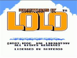 Title screen of Adventures of Lolo on the Nintendo NES.