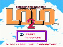 Title screen of Adventures of Lolo 2 on the Nintendo NES.