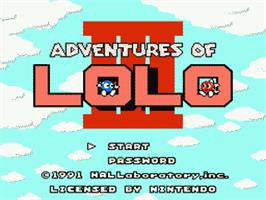 Title screen of Adventures of Lolo  3 on the Nintendo NES.
