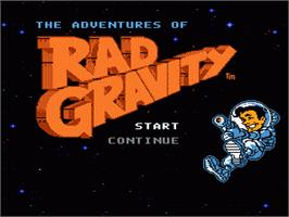 Title screen of Adventures of Rad Gravity on the Nintendo NES.