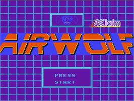 Title screen of Airwolf on the Nintendo NES.